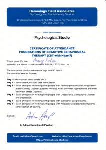 Сертификат когнитивно-поведенческая терапия